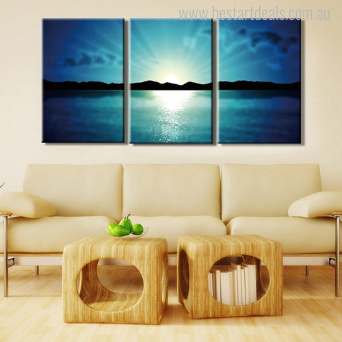 Sunrise at Sea Landscape Modern Canvas Artwork Portrait Print for Lounge Room Wall Decor