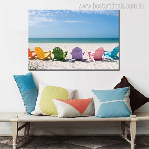 Beach Chairs Seascape Modern Landscape Painting Picture Print for Living Room Wall Disposition