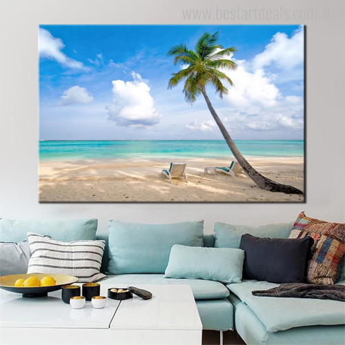 Beach Table Seascape Modern Landscape Painting Image Print for Living Room Wall Tracery