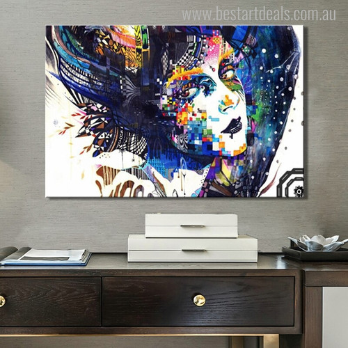 Hued Girl Figure Abstract Modern Canvas Artwork Photo Print for Home Decor