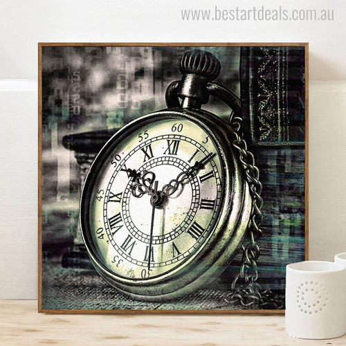 Pocket Watch Fashion Vintage Painting Portrait Canvas Print for Home Wall Finery
