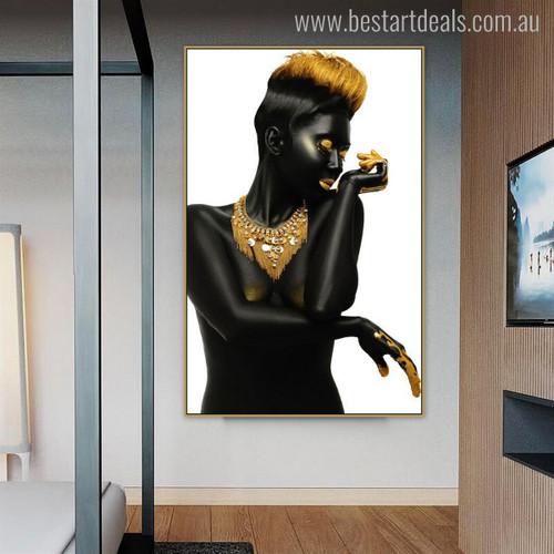 Black Girl Nude Figure Modern Wall Art Print for Home Wall Finery