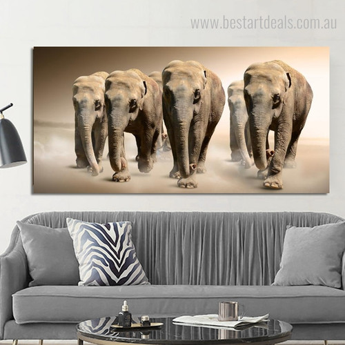 African Wild Elephant Animal Modern Painting Canvas Print for Living Room Wall Outfit