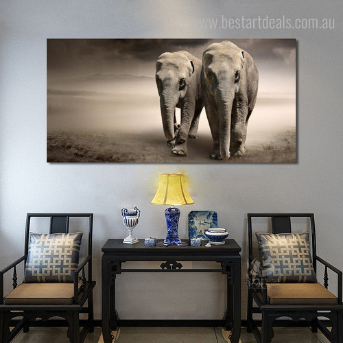 Two Elephants Animal Modern Wall Art Picture Print for Living Room Wall Finery