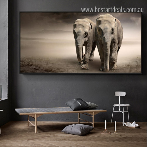 Two Elephants Animal Modern Wall Art Picture Print for Lounge Room Wall Decor