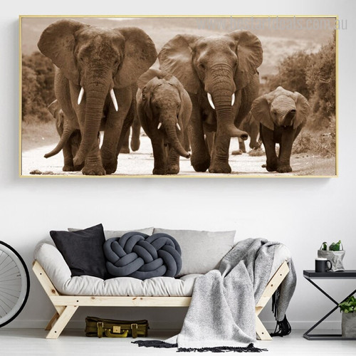 Elephants Family Animal Modern Wall Art Picture Print for Lounge Room Wall Flourish