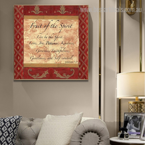 Fruit Spirit Quotes Vintage Canvas Artwork Print for Home Wall Outfit