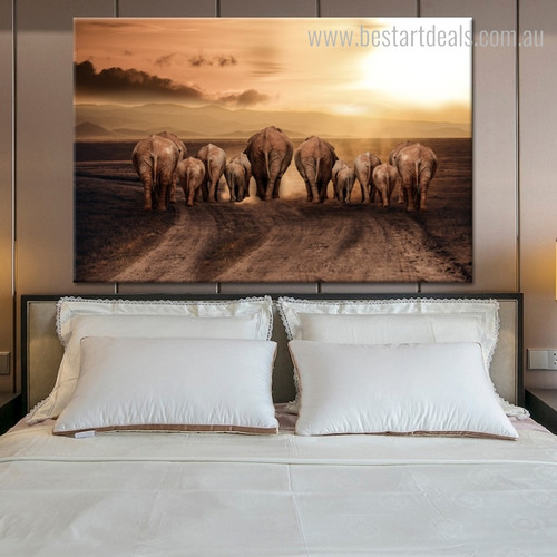 Elephants Back Animal Modern Painting Canvas Print for Bedroom Wall Moulding