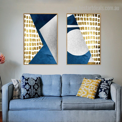 Grey Trigon Abstract Modern Geometric Painting Canvas Print for Home Wall Adornment