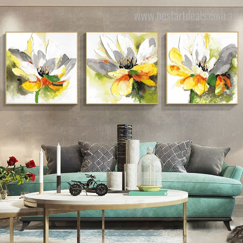 Gorgeous Lotus Botanical Watercolor Abstract Painting Image Print for Home Wall Decor