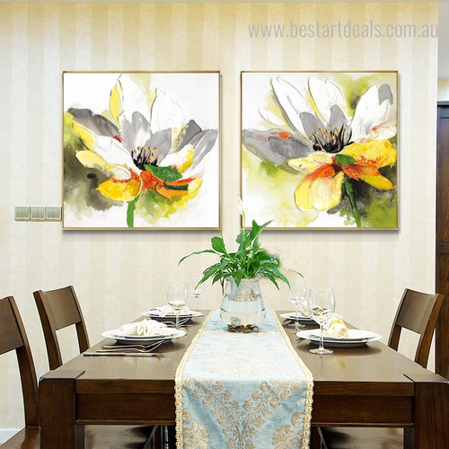 Awesome Lotus Abstract Watercolor Botanical Portraiture Picture Canvas Print for Dining Room Wall Outfit