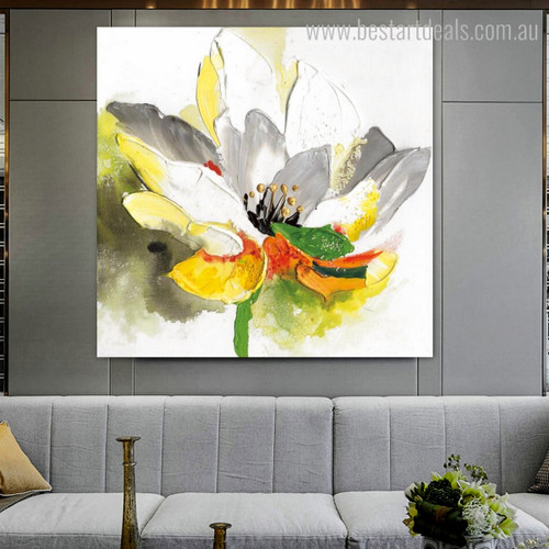 Colorific Lotus Abstract Watercolor Framed Smudge Image Canvas Print for Room Wall Molding