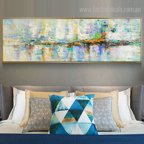 Turquoise Abstract Watercolor Panoramic Framed Tableau Photo Canvas Print for Bedroom Wall Adornment