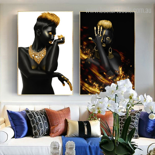 African Girls Modern Framed Figure Painting Picture Canvas Print for Living Room Wall Getup
