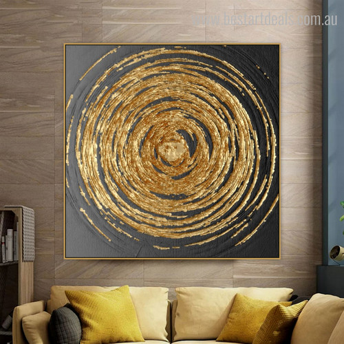 Circular Art Framed Modern Painting Photo Canvas Print for Living Room Wall Decor