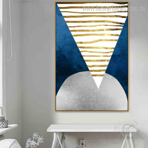 Reserve Triangle Abstract Geometric Modern Canvas Artwork Picture Print for Home Wall Outfit