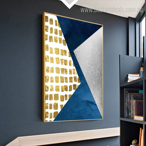 Two Triangles Abstract Modern Geometric Painting Photo Canvas Print for Wall Ornament