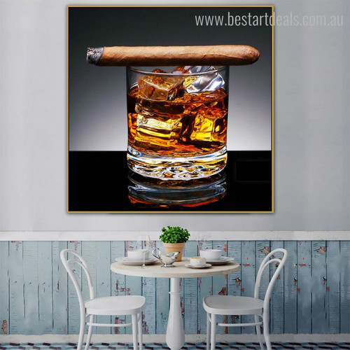 Cigar Food and Beverages Modern Painting Picture Canvas Print for Room Wall Getup