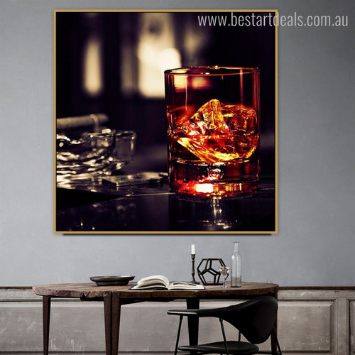 Whisky Glass Modern Food and Beverages Painting Picture Canvas Print for Home Wall Getup
