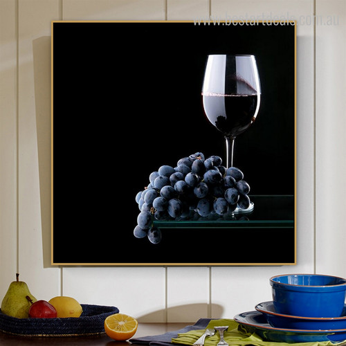 Grapes Booze Modern Food and Beverages Canvas Artwork Picture Print for Room Wall Outfit