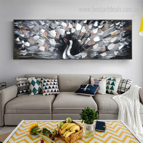 Peacock Abstract Bird Framed Knife Resemblance Picture Canvas Print for Wall Molding