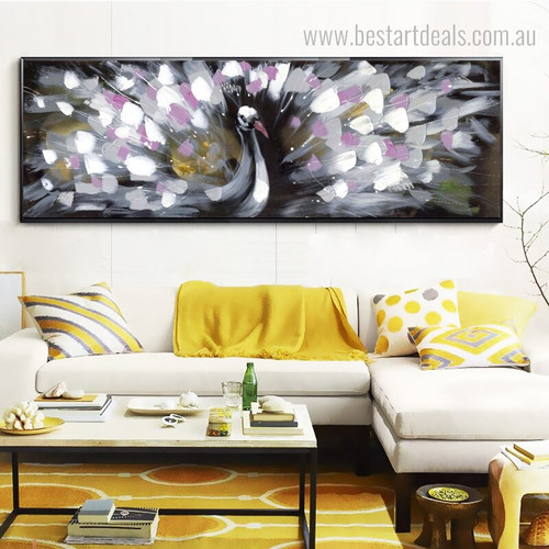 Pink Peacock Bird Panoramic Abstract Framed Palette Knife Acrylic Painting Photo Canvas Print Art for Living Room Wall Onlay