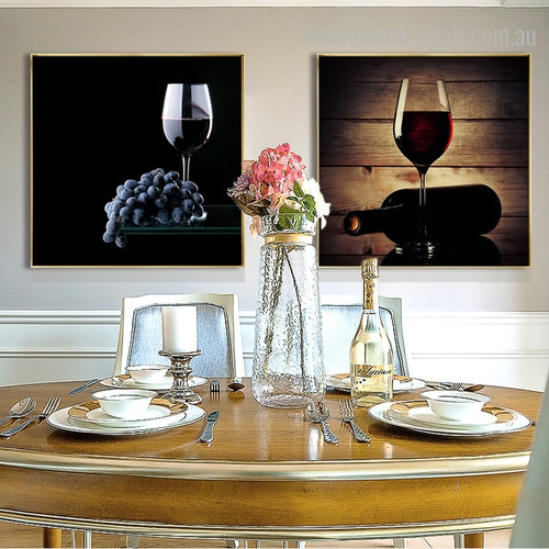 Rums Framed Contemporary Food and Beverages Canvas Portraiture Picture Print for Dining Room Wall Ornament