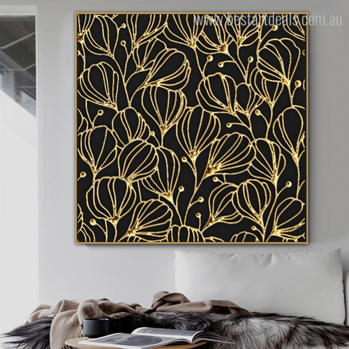 Damask Floral Abstract Nordic Framed Portraiture Photo Canvas Print for Room Wall Adornment