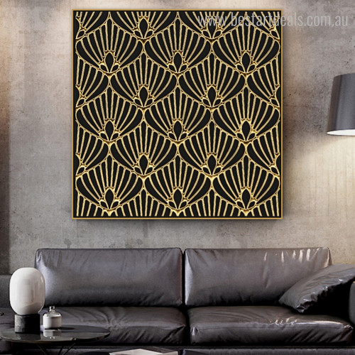 Gold Floral Abstract Framed Painting Picture Canvas Print for Living Room Wall Assortment