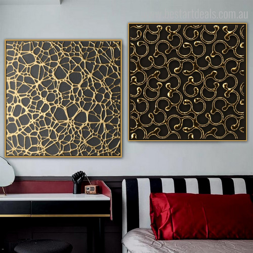 Spider Web Abstract Framed Contemporary Painting Picture Canvas Print for Room Wall Decoration
