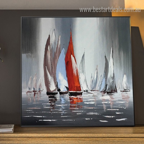 Sailboats Abstract Landscape Framed Contemporary Image Print for Wall Decoration