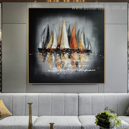 Sailing Boat Abstract Framed Landscape Effigy Image Canvas Print for Room Wall Drape