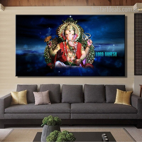 Lord Ganesh Religious Modern Framed Painting Photo Canvas Print for Living Room Wall Adornment