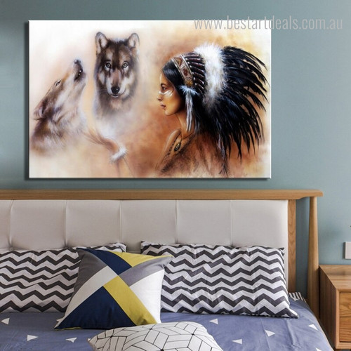 Tribal Girl Animal Framed Contemporary Painting Portrait Canvas Print for Bedroom Wall Assortment