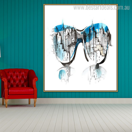 Goggles Abstract Cityscape Framed Watercolor Handmade Painting Image Canvas Print for Room Wall Getup