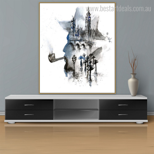 Smoking Man Abstract Watercolor Framed Cityscape Canvas Artwork Image Print for Room Wall Moulding