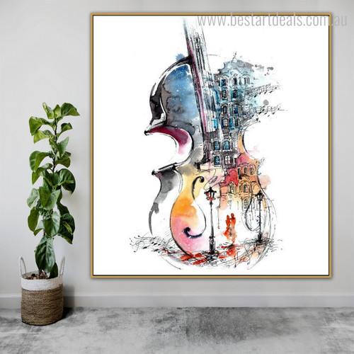 Guitar Abstract Watercolor Framed Cityscape Smudge Image Canvas Print for Room Wall Decoration