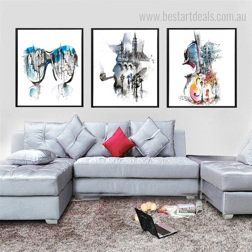Guitar City Abstract Framed Watercolor Cityscape Painting Picture Canvas Print for Living Room Wall Onlay