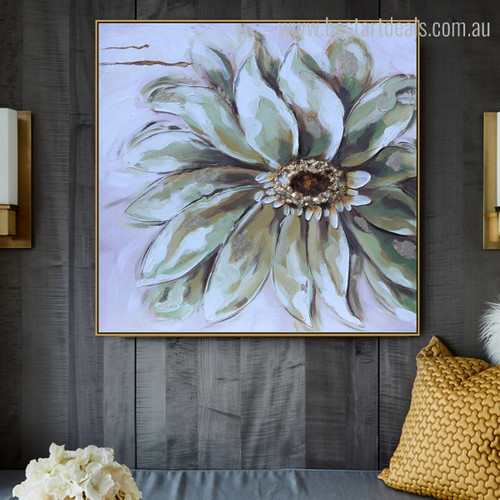 White Flower Abstract Watercolor Contemporary Botanical Knife Painting Photo Canvas Print for Wall Tracery