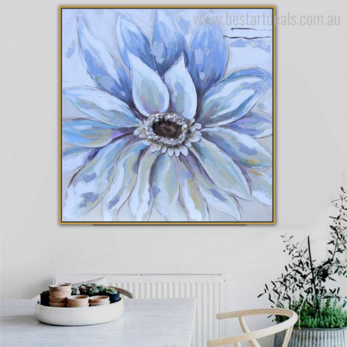 Bluish Bloom Abstract Watercolor Botanical Knife Painting Picture Canvas Print for Dining Room Wall Getup