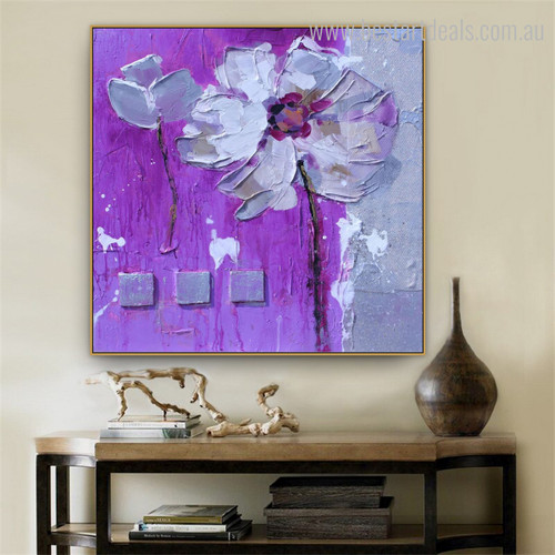Purple Bloom Abstract Watercolor Botanical Painting Image Canvas Print for Living Room Wall Molding