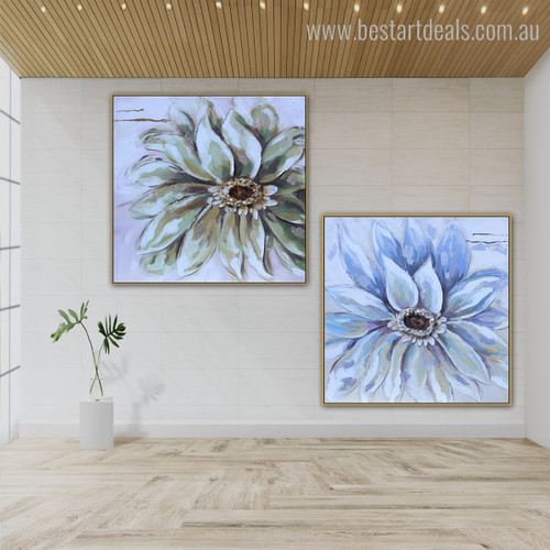 Two Flowers Abstract Floral Framed Watercolor Painting Photo Canvas Print for Room Wall Assortment