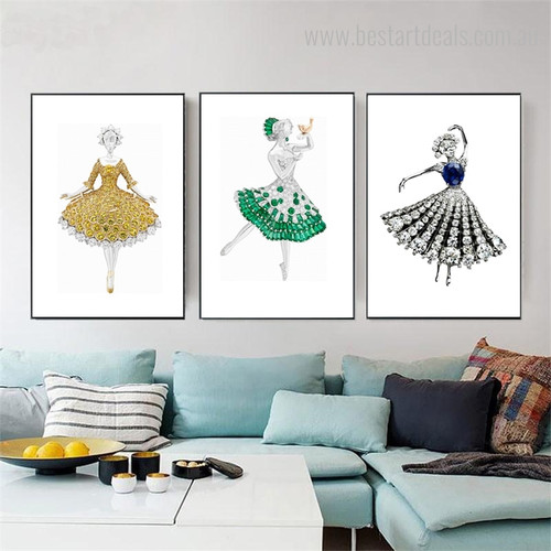 Gems Dress Abstract Modern Framed Canvas Artwork Portrait Print for Living Room Wall Drape