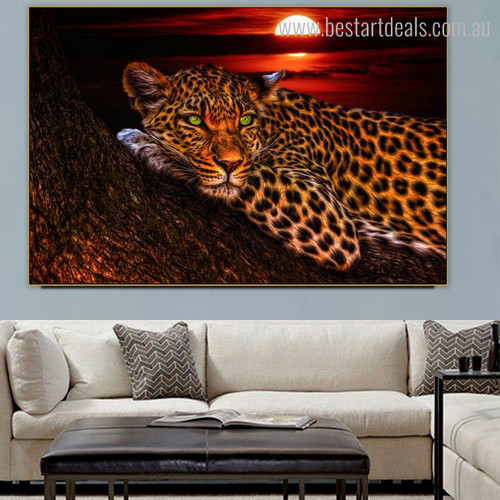Jaguar Animal Modern Framed Effigy Image Canvas Print for Room Wall Getup