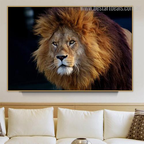 Gorgeous Leo Face Animal Modern Framed Canvas Artwork Portrait Print for Room Wall Ornament