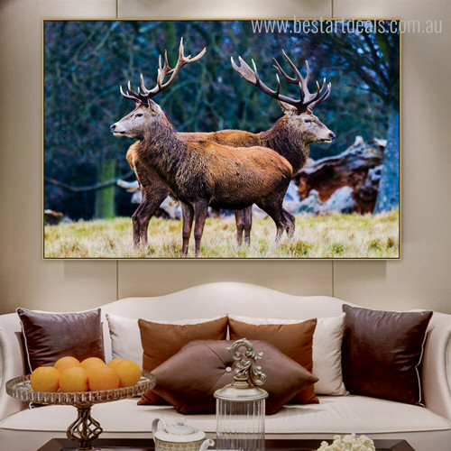 Elk Deer's Botanical Animal Framed Modern Smudge Image Canvas Print for Room Wall Garniture