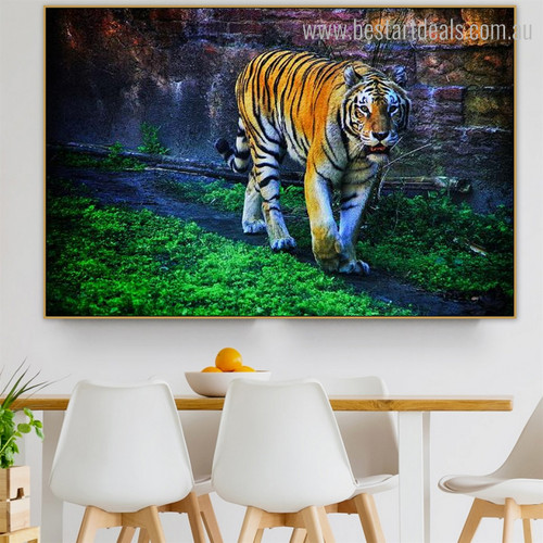 Wild Tiger Modern Animal Botanical Framed Vignette Photo Canvas Print for Dining Room Wall Decor