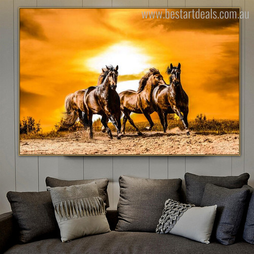 Three Horses Animal Framed Contemporary Painting Image Canvas Print for Room Wall Adornment