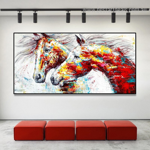 Lovely Horses Abstract Animal Framed Painting Picture Canvas Print for Room Wall Outfit