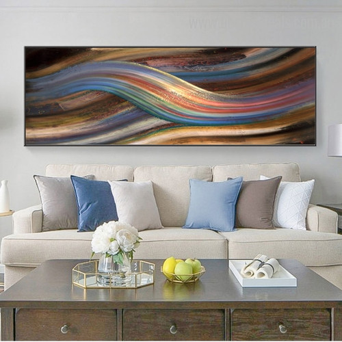 Rainbow Abstract Framed Modern Panoramic Resemblance Photo Canvas Print for Room Wall Assortment